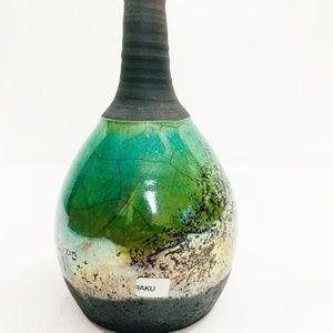 Raku Pottery Vase Green Grey NWOT